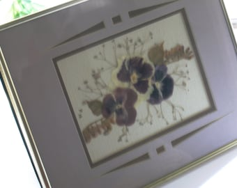 Pansy Flower Collage Vintage Dried Floral Picture Pansy Babys Breath Fern Modern Cutout Double Mat Brass Metal Glass Frame Pressed Flowers