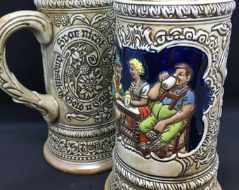 "Vintage Pair of 8"" Ceremarte Beer Steins - German Bar Scene"