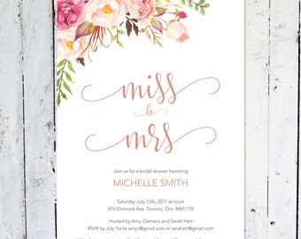 Bridal Shower Invitation, Miss To Mrs., Boho Bridal Shower Invitation,  Pink, Floral, Pastel, Spring, Summer, Flowers, Watercolor, Printable