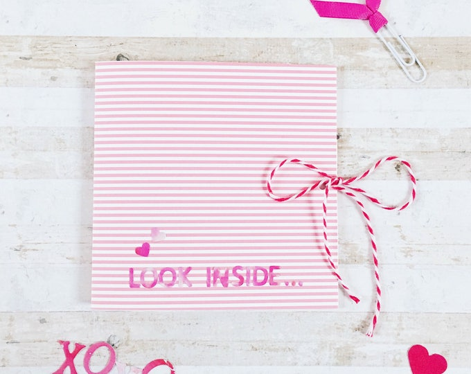 look inside, surprise love floral heart, valentines card