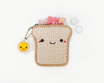 Crochet Coin Purse Bread with Fried Egg keychain/ pouches/ card holder wallet