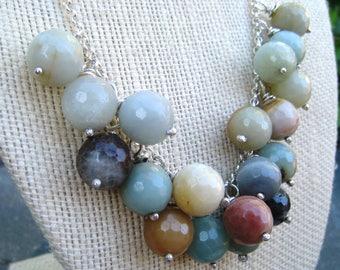 Ensemble de boucles d'oreilles Collier Amazonite, Amazonite et argent, collier plastron, bleu et argent, perles bleues, perles d'Amazonite, SweetTaBou
