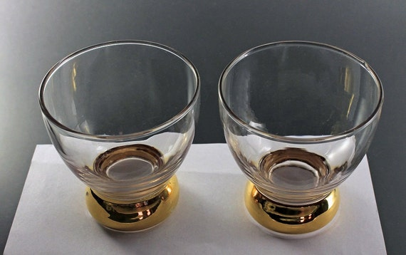 Gold Footed Cocktail Glasses, Set of 2, Barware, Stemless Glassware