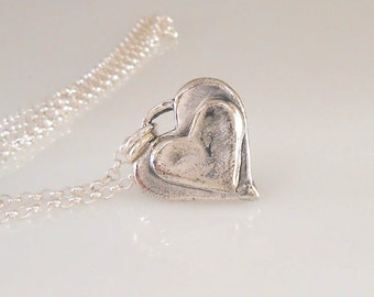 Fine Silver Stacked Heart on Sterling Silver Chain Necklace