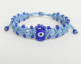 Blue evil eye, Micro macrame,Beaded bracelet,Women gift,Greek mati,Adjustable,Mal de ojo,Talisman,Protection amulet,Dainty bracelet,Delicate