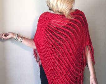 Indian Paintbrush Poncho - a loom knit pattern