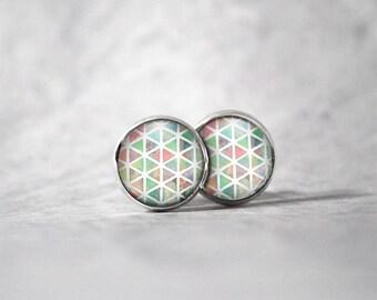Earrings cabochon 10 mm / triangle pattern