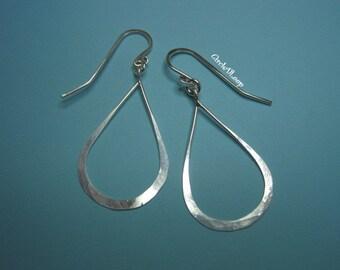 Raindrop  hoop sterling silver earrings