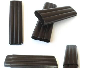 CONOISSEUR N.1  Cigar Case 3 finger Brown - AS011