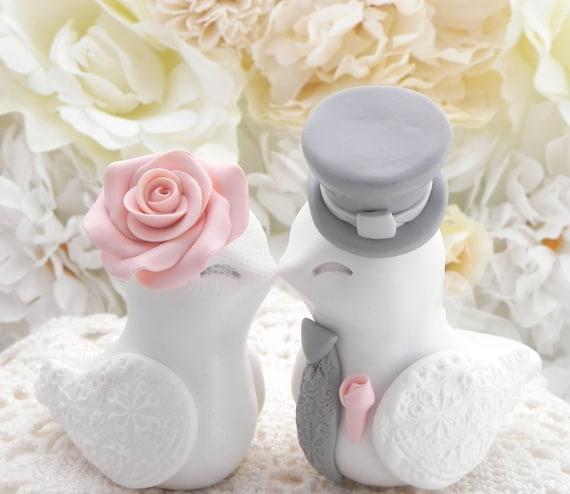 Love Birds Wedding Cake Topper, White, Peach and Grey, Bride and Groom Keepsake, Fully Customizable