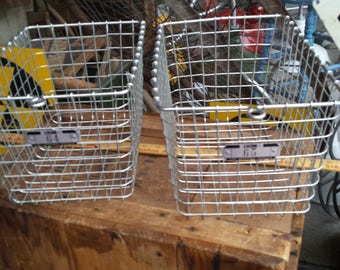 PAIR of Vintage Wire Gym Baskets Made by Lyon Workplace Products - Industrial Storage