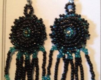 Rosettes Beaded Earrings, teal/black