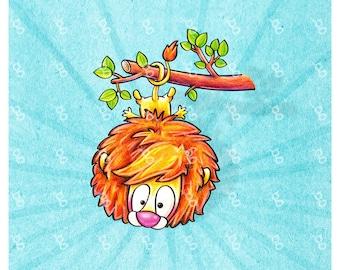 """Digi Stamp """"lion""""-hanging upside"""