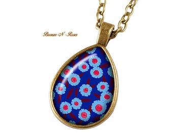 Necklace cabochon blue flowers bronze gift