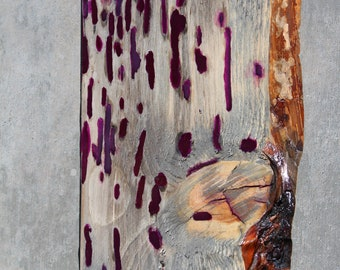 Purple/wine colored Resin Wood Wall Hanging, New Apartment Decor, New House, live edge, Unique, Kids Room, House warming, Glow in the Dark