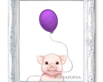 Pig Art for Kids Room Decor, Pig Nursery Print Pig Painting, Kids Room Print, Boys Room Decor, Boy Room Print, Pig Purple Nursery Painting