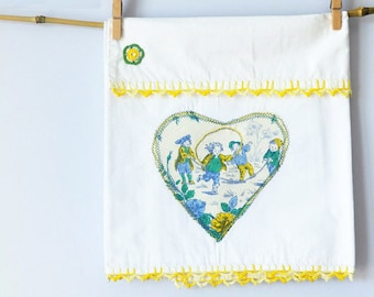 Newborn baby bed set for CRADLE with hand painted vintage fabric in lemon yellow, cobalt blue and green and READY to SHIP