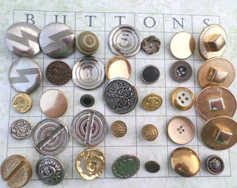 35 GOLD and SILVER Metal VINTAGE Buttons for Sewing Crafts Scrapbooking Cardmaking Jewelry