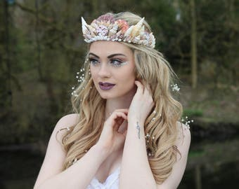 Mermaid shell crown, delicate mermaid tiara, sea crown