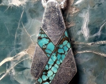 Turquoise Inlayed in Sterling Silver Pendant RF352