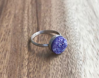 Purple Druzy Ring, 10 mm Silver Druzy Ring, Druzy Ring, Purple Druzy, Purple Drusy, Druzy Jewelry