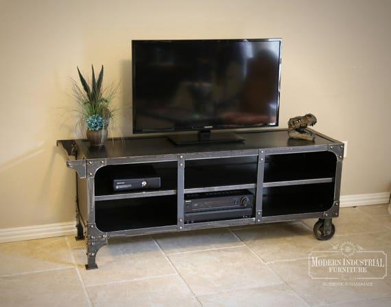 Media Cart Console Metal TV Cabinet Vintage Industrial