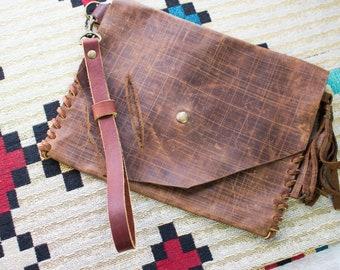 Tassel Clutch Bag, leather clutch tassel, Distressed brown, Women's boho purse