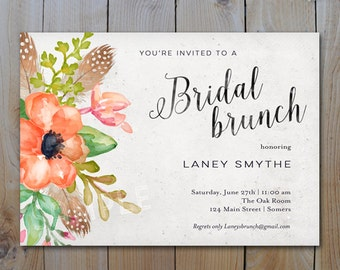 Bridal Brunch  Invitation / Coral Feather and Floral Script Invitation / PRINTABLE INVITATION / #1258