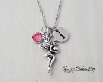 Fairy Necklace - Faeire Necklace - Antique Silver Jewelry - Monogram Personalized Initial and Birthstone