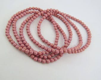 5MM Dusty Rose Pink Round Beads Pressed Czech Glass Ball Opaque Antique Begonia Pink Druk 50 Beads PDRUK5008-1