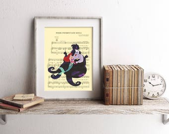 Little Mermaid Ursula Silhouette Poor Unfortunate Souls Sheet Music Art Print