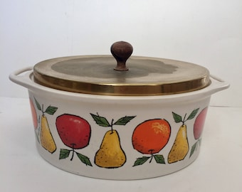 Hyalyn Pottery, Mid Century Modern Pot With Fruit Motif by Fred Press