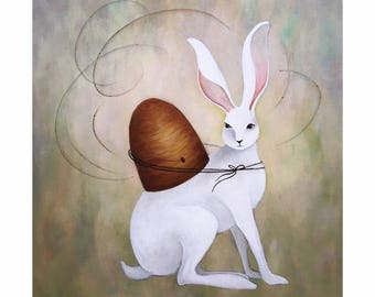 The Messenger Rabbit and Beehive Print