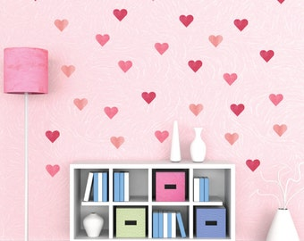 Watercolor Heart Wall Decals - Valentine Fabric Wall Decals
