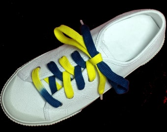 Navy Blue and Yellow University of Michigan Tyes for your shoes