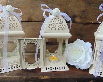 SALE Set of 10 Rustic White Wedding Lanterns, White Lanterns,Moroccan Lanterns, Shabby chic,Wedding Lighting, Wedding Centerpiece,Candle Lan