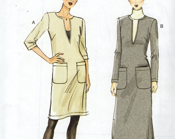 FREE US SHIP Vogue 8824 Pullover Dress Size 4/14  4 6 8 10 12 14 Bust 29 30 31 32 34 36  Sewing Pattern Out of Print 2013 Factory Folded