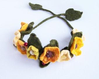 Floral headband necklace bracelet wrap Yellow poppy and green flower Bohemian Romantic wedding Woman Lady Multiuse 2016