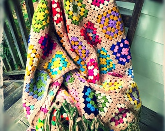 Beautiful Vintage Crochet Granny Square Afghan Perfect Condition Littlepinktrailer