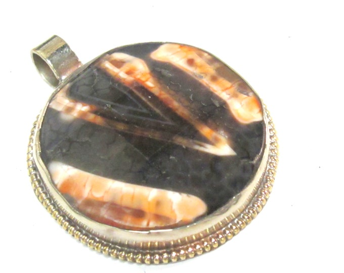 OOAK  Tibetan oval shape agate gemstone pendant with reverse side floral design   - PM581RG