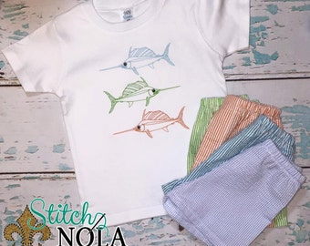 Swordfish Shirt & Seersucker Shorts Set