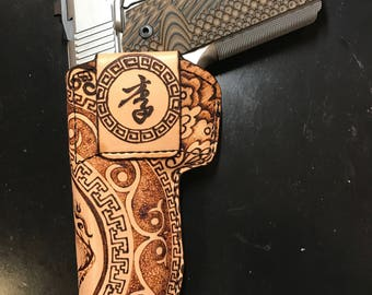Customized Dragon Leather Firearm Holster
