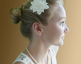 White on White Felt Flower Hair Clip with Vintage White Button, Pearls and Hand Embroidery