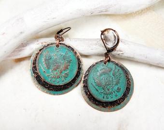 Boucles d'oreilles de la pièce en cuivre, avec pièces de monnaies antiques