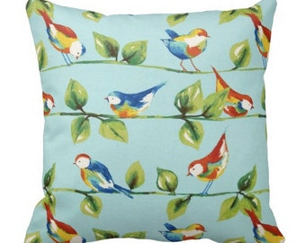 Patio Throw Pillow, Outdoor Bird Pillows, Outdoor Throw Pillows, Aqua Pillows,Patio Pillows,Pool Pillows,Aqua Pillow Covers, Outside Pillows