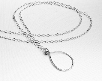 Hammered Silver Necklace, Sterling Silver Minimalist Necklace, Long Silver Necklace, Minimalist Necklace, Boho Necklace, Hipster Necklace