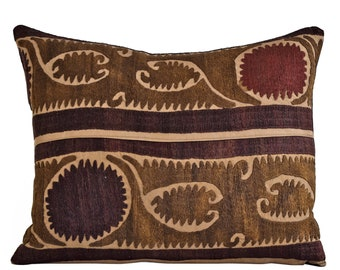 Vintage Suzani Embroidered Pillow Cover 12x16, Suzani throw pillow covers,Uzbek suzani pillows, Pillow Cover, Suzani Throw Pillows, Suzani