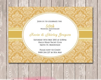 Personalised Damask 25th, 50th Wedding Anniversary Invitations - YOU PRINT