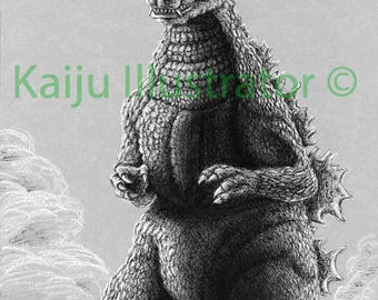 "Godzilla 1984/1985 Original 8""x10"" Drawing"