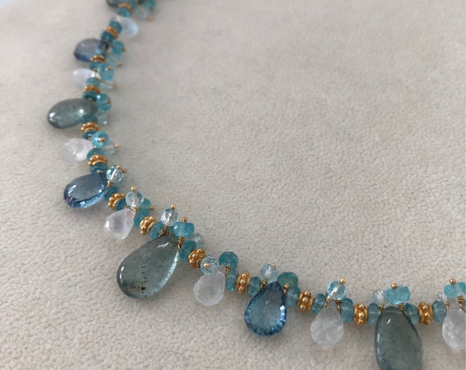 Moss Aquamarine Gemstone Necklace in Gold and Rainbow Moonstone, Mystic London Blue Topaz, Sky Blue Topaz and Apatite